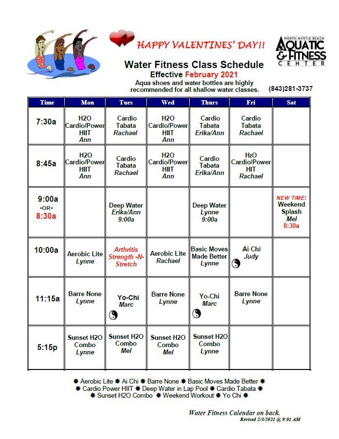 February Water Fitness Schedule